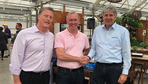 Scott Valentine, president of Syngenta Flowers North America; Bart Kuijer, director of Varinova Operations B.V.; Michael Kester, head of Syngenta Flowers Global